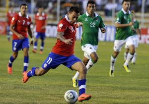 Chilean Juan Marques (11) controls the b