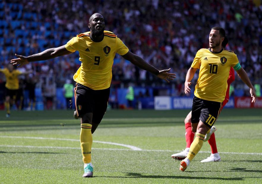Bélgica_Túnez_Lukaku_celebra_Hazard_Mundial_Rusia_2018_Getty